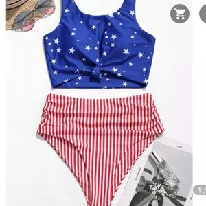American flag high waisted swimsuit